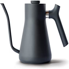 Matte Black, Fellow Stagg Stovetop Pour-Over Coffee and Tea Kettle - Gooseneck Teapot with Precision Pour Spout, Built-In Thermometer, Matte Black, 1 Liter