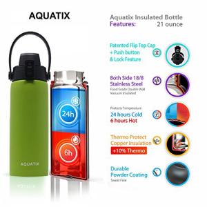 新しいAquatix(ライムグリーン、21オンス)純ステンレス鋼の二重壁真空断熱スポーツウォーターボトル取り外し可能なストラップハンドル付きの便利なフリップトップキャップ-飲み物を24時間冷たく/ 6時間熱く保ちます Aquatix FlipTop Sport Bottle New Aquatix (Li