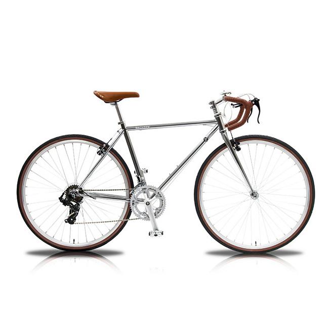 WBR-7001 700C クロモリロードバイク Spark スパーク 14段変速【シルバー ブルーシルバー クロモリフレーム ヴィンテージ デザイン 自転車 レディース メンズ】[直送品]