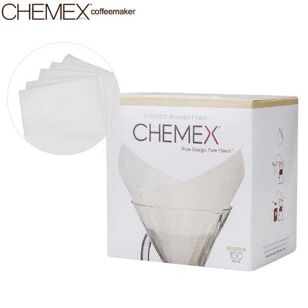あす楽 365日休まず出荷 Chemex サービス ケメックスコーヒーメーカー ハンドメイド ドリップ ガラス フィルター 濾紙 コーヒーメーカー 6カップ用 フィルターペーパー 100枚入 ケメックス 開催中 新生活 FS-100