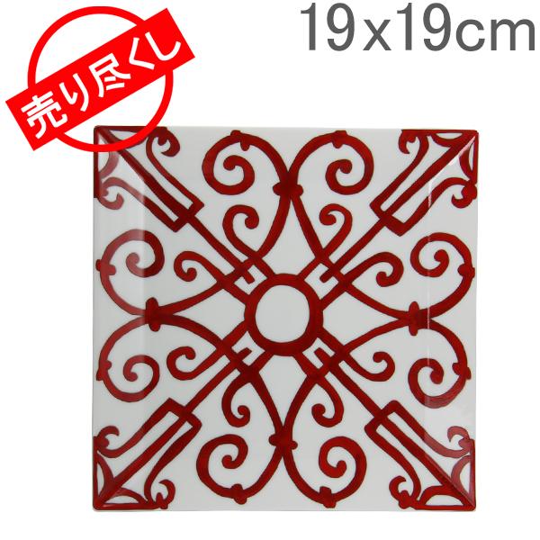 【ポイント3倍 4/16,01:59まで】  赤字売切り価格 Hermes エルメス Balcon du Guadalquivir Square Plate No.4 スクエアプレート 皿 19x19cm 011044P