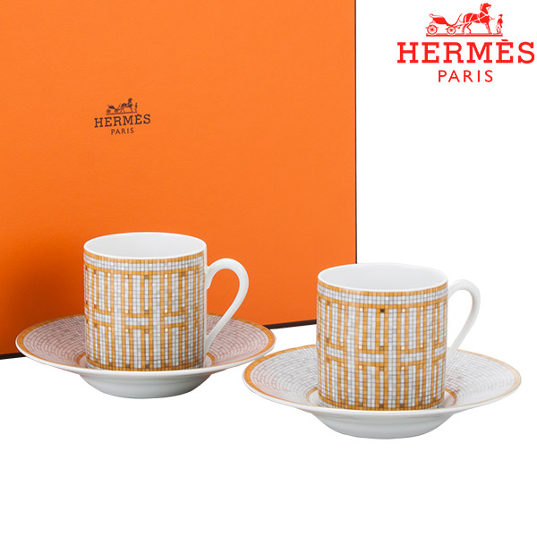 【5%還元】【あす楽】エルメス HERMES モザイク ヴァンキャトル コーヒー カップ&ソーサー ペア 2個セット 026017P イエローゴールド/ホワイト Masaique au 24 Espresso cup&saucer