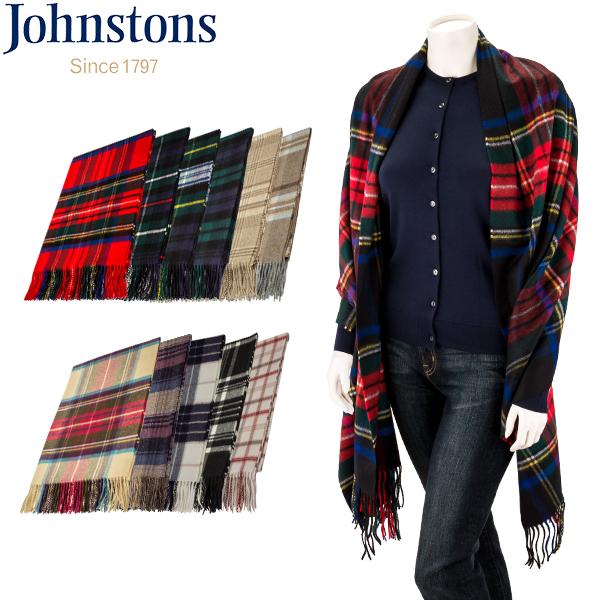 ジョンストンズ Johnstons カシミア チェック マフラー ストール 大判ストール WA000056 100% Cashmere Woven Scarf ひざ掛け ブランケット レディース メンズ
