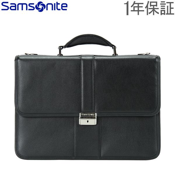 【1年保証】SAMSONITE サムソナイト Leather Business レザービジネス Flapover Leather Business Case フラップオーバー レザーブリーフケース Black ブラック 43120-1041 ビジネスバッグ パソコンケース ブリーフケース