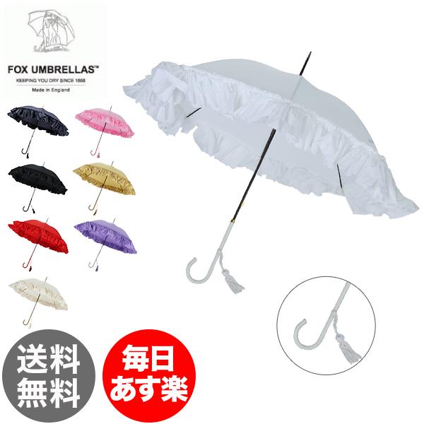 【3%OFFクーポン】Fox Umbrellas フォックス アンブレラズ (FoxUmbrellas) WL9 スリムレザークルックハンドル FOX-WL01 フリル長傘