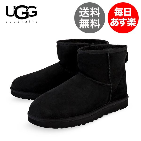 アグ UGG ムートンブーツ クラシック ミニ Classic Mini メンズ ブラック Black 1002072-BLK シープスキン 本革 ショート丈 シューズ Men's Classic Boot
