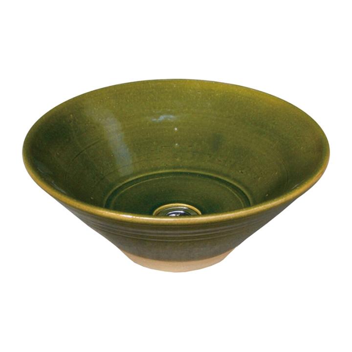 [オンリーワン]お庭の水道をお洒落に。ガーデンパンWATER POT/ウォーターポット手洗い鉢/陶器の水鉢 「織部」【メーカー取り寄せ品】