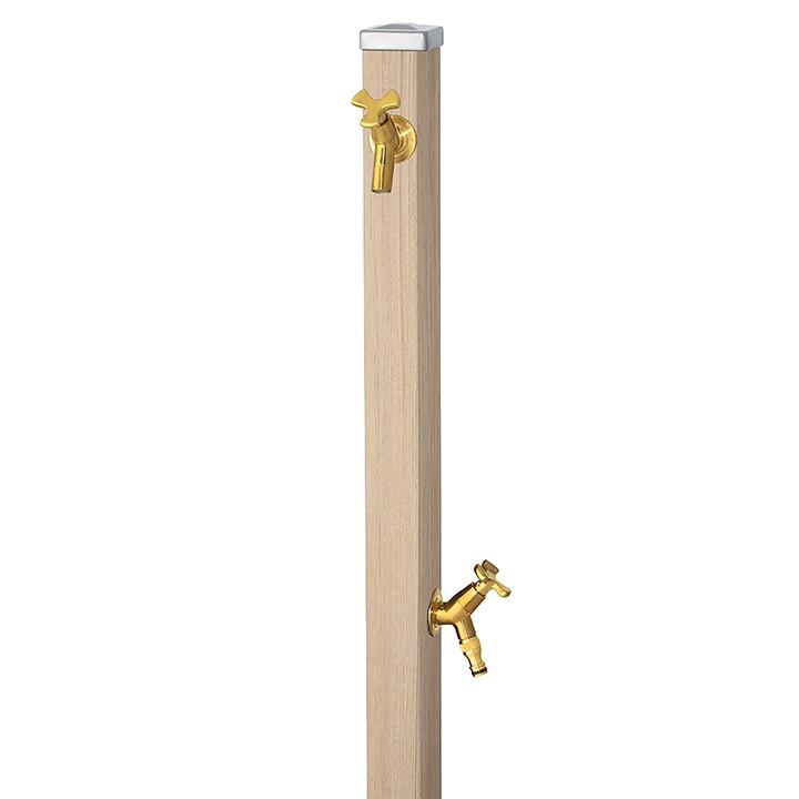 ユニット立水栓スプレスタンド60角(シャインチーク)+蛇口(ゴールド)2個セット左右仕様【メーカー直送品・代金引換不可】