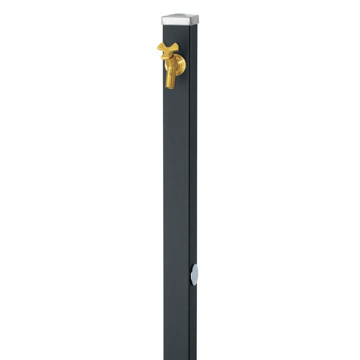 ユニソンスプレスタンド立水栓60角(マットブラック)+蛇口(ゴールド)1個セット左右仕様【メーカー直送品・代金引換不可】