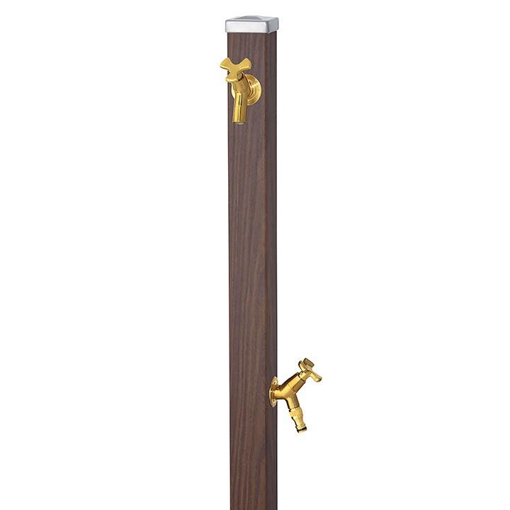 ユニット立水栓スプレスタンド60角(ウォールナット)+蛇口(ゴールド)2個セット左右仕様【メーカー直送品・代金引換不可】