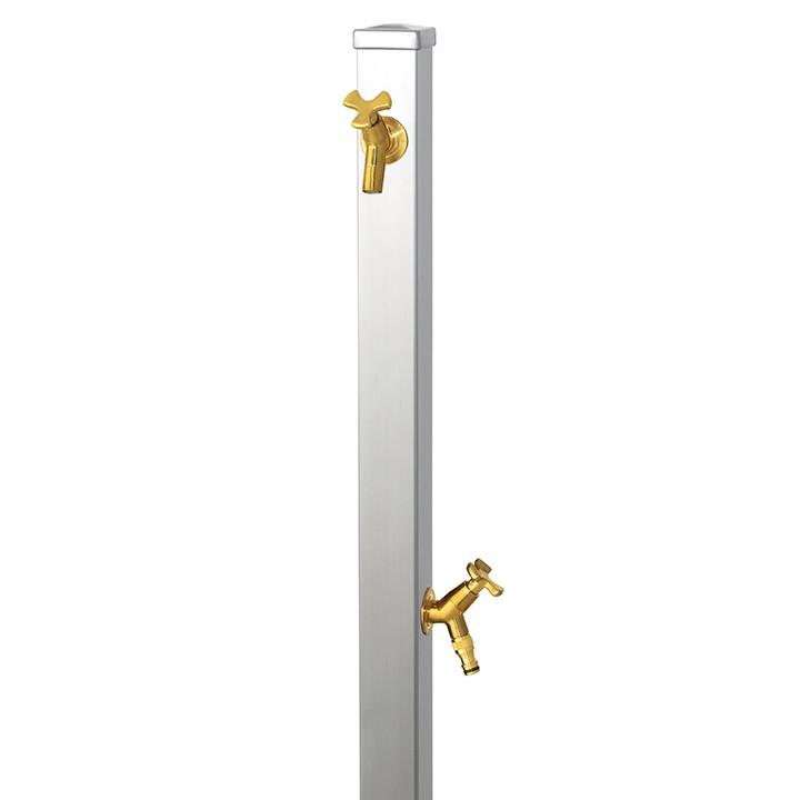 【マラソン期間中PT2倍】ユニット立水栓スプレスタンド60角(ステンレスシルバー)+蛇口(ゴールド)2個セット左右仕様【メーカー直送品・代金引換不可】