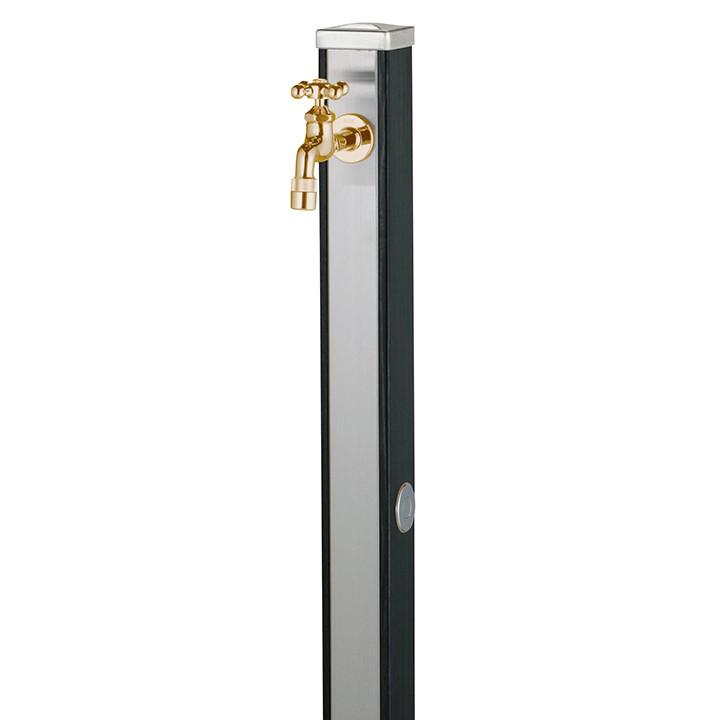 ユニット立水栓「木目調」スプレスタンド70角(ウッドブラック)+蛇口(ゴールド)1個セット【メーカー直送品・代金引換不可】