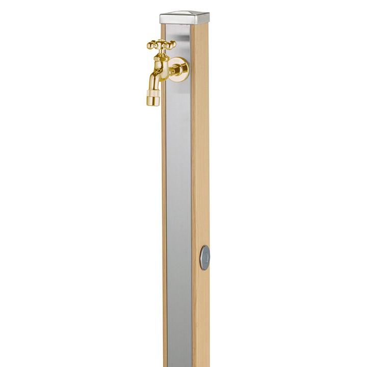 ユニット立水栓「木目調」スプレスタンド70角(ウッドベージュ)+蛇口(ゴールド)1個セット【メーカー直送品・代金引換不可】