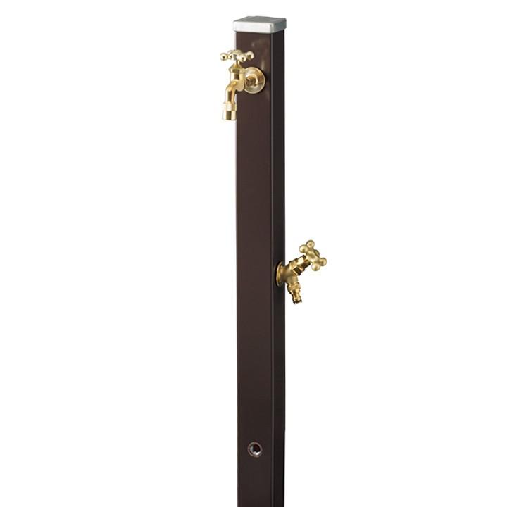 ユニット立水栓「焼付け塗装」スプレスタンド70角(チョコブラウン)+蛇口(ゴールド)2個セット【メーカー直送品・代金引換不可】