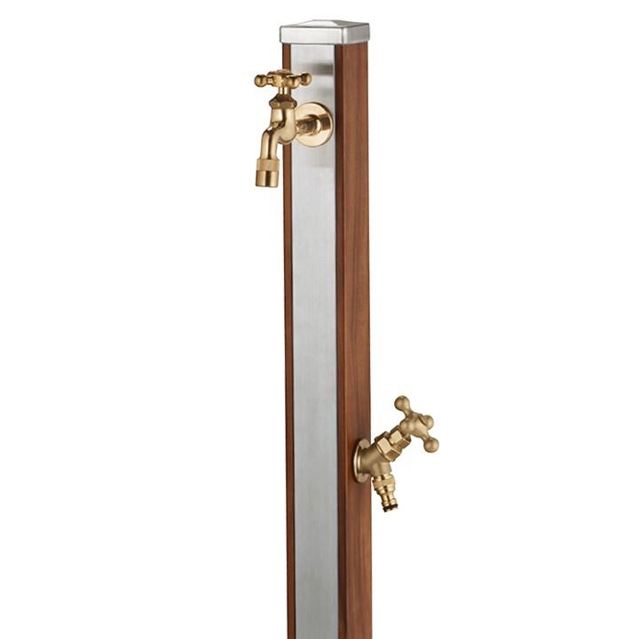 ユニット立水栓「木目調」スプレスタンド70角(ウッドブラウン)+蛇口(ゴールド)2個セット【メーカー直送品・代金引換不可】