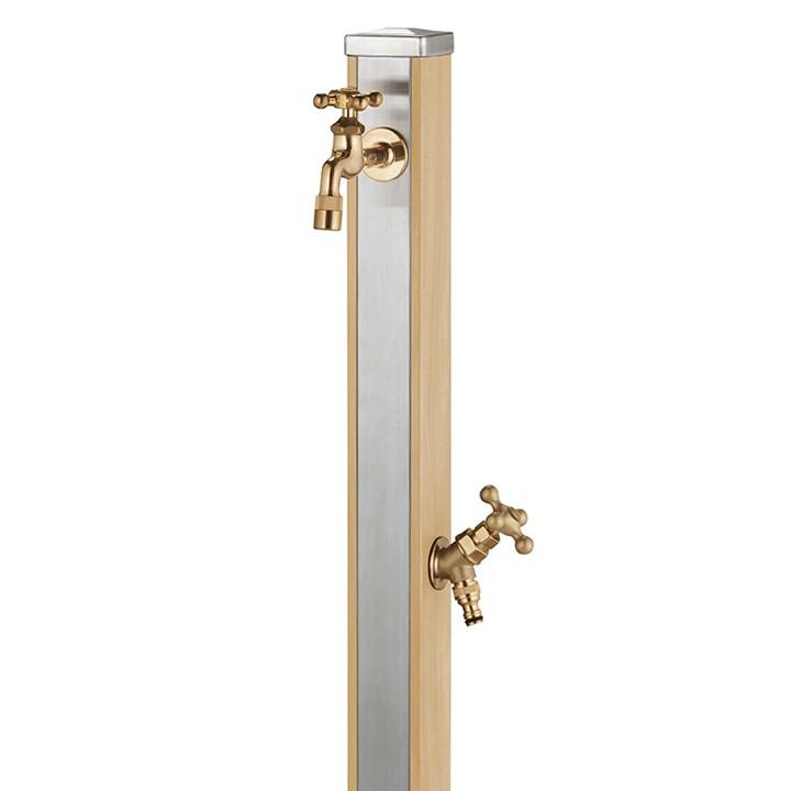 【マラソン期間中PT2倍】ユニット立水栓「木目調」スプレスタンド70角(ウッドベージュ)+蛇口(ゴールド)2個セット【メーカー直送品・代金引換不可】
