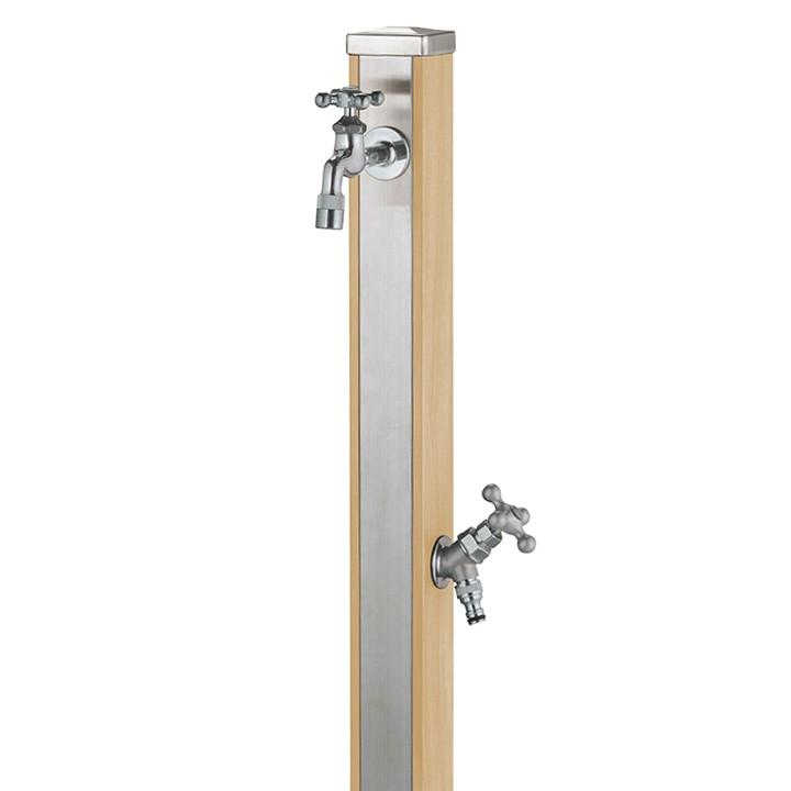 【マラソン期間中PT2倍】ユニット立水栓「木目調」スプレスタンド70角(ウッドベージュ)+蛇口(シルバー)2個セット【メーカー直送品・代金引換不可】