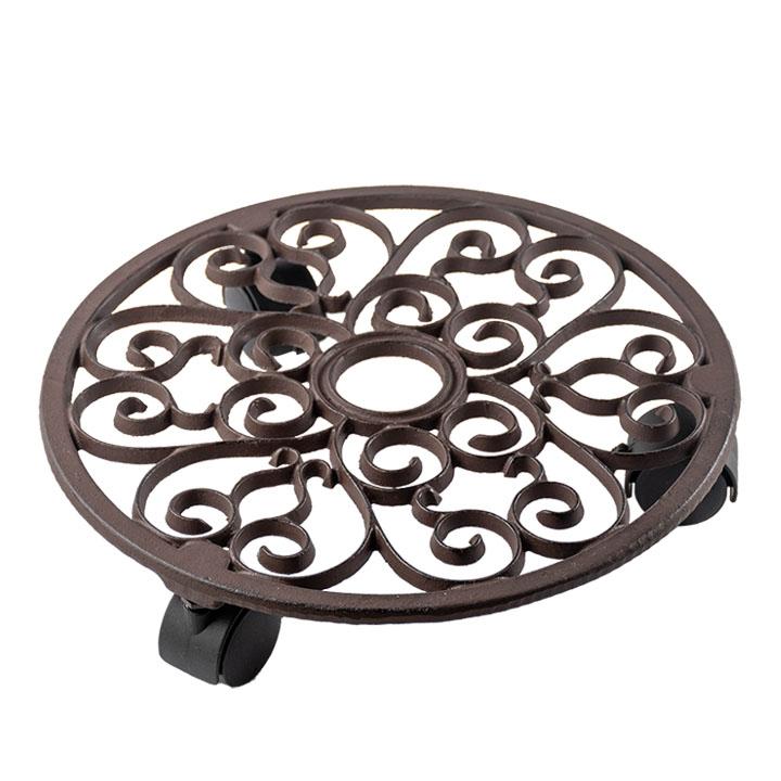 シックでおしゃれなキャスター付き鉢置き つる模様が素敵なキャスター付き鉢置きプランツ トロリー ラウンド(TG39)