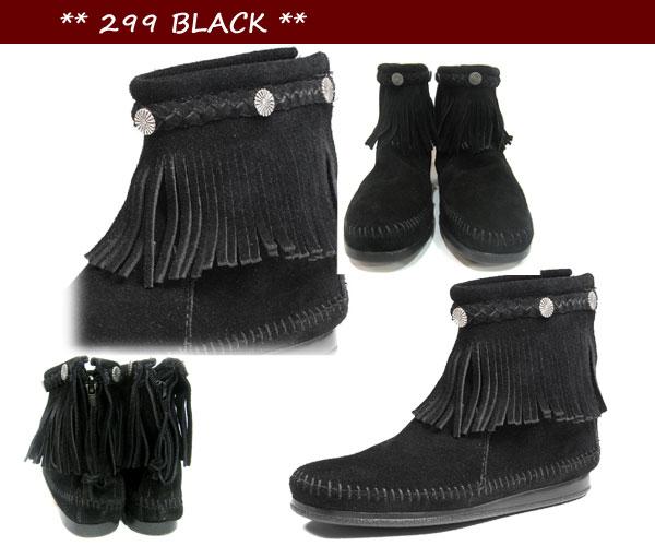 【国内正規品】 MINNETONKA ミネトンカ Hi Top Back Zip Boot 【 299 : BLACK】