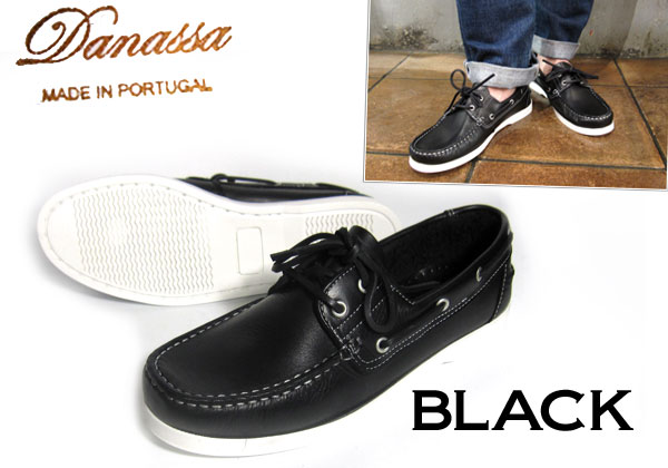 Instant upgrade adult casual black deck shoes are recommended ♪ DECKSHOES danassa ダナッサ deck shoes leather BLACK (black)