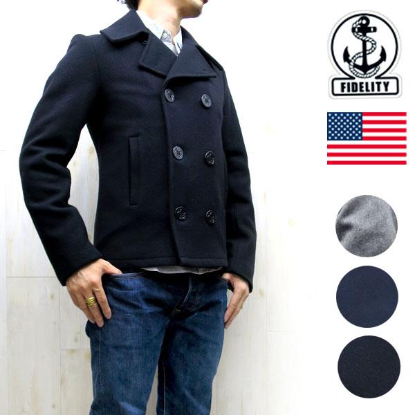 豌豆大衣冬天美国麦尔登羊毛 22200R 黑暗海军富达 (保真) 22 oz