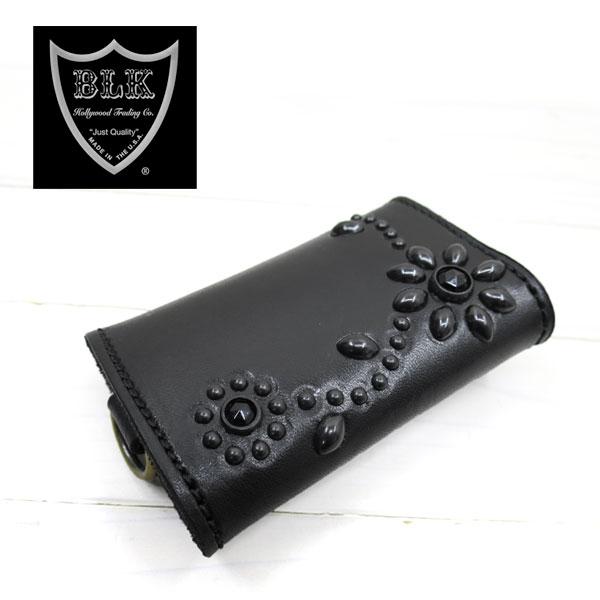 HTC BLACK キーケース KEY CASEフラワーモチーフ ブラックレザー ブラックスタッズ ブラックストーン( エイチティーシー キーケース )htcblack kcb1kflo ブラック×ブラック