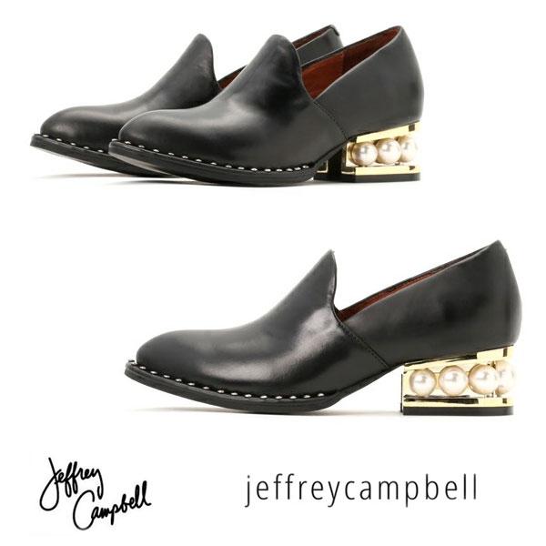 【人気】 人気の蹄ヒールに パール 付! ヒール約4cm  Jeffrey Campbell ( ジェフリーキャンベル ) マニッシュ シューズ 【BLACK】3475 歩きやすい パール ローファー カーフレザー