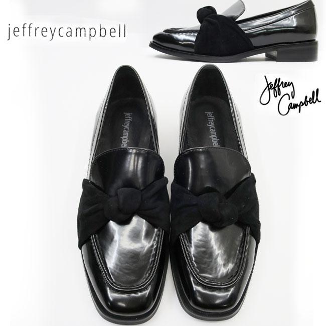 リボン ローファー ヒール約3cm  Jeffrey Campbell ( ジェフリーキャンベル ) マニッシュ シューズ 【BLACK】3828 歩きやすい スリッポン ブラック 靴 ガラスレザー 本革