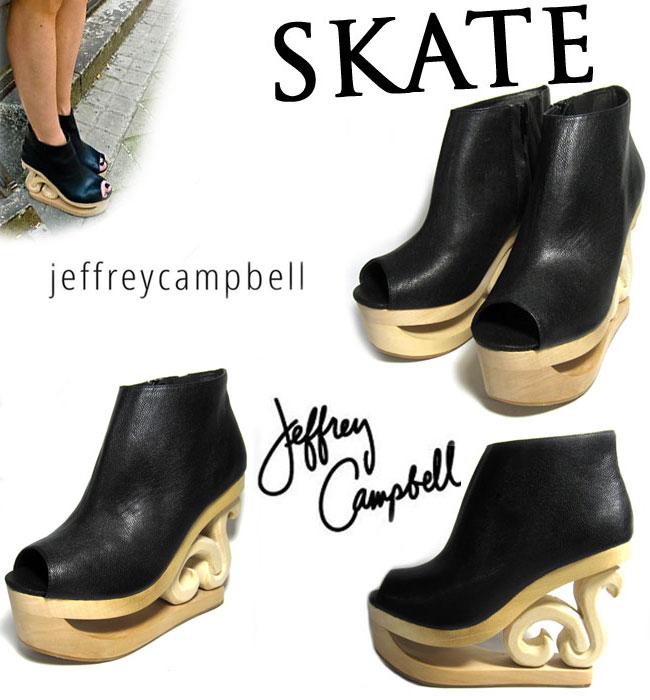 【定番人気モデル】歩くアート! Jeffrey Campbell ( ジェフリーキャンベル ) SKATE ( スケート ) ウェッジ サンダル ( ウッドサンダル ) 【BLACK】 【WHITE】