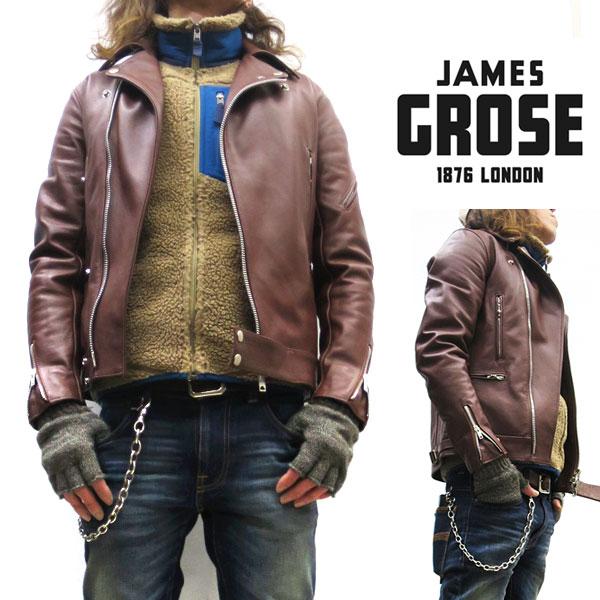 【正規販売店】JAMES GROSE / MANILA JACKET 【 レザーダブルライダースジャケット 】【ブラウン】 ジェームスグロース / マニラジャケット 牛革 メンズ ロンジャン 英国製