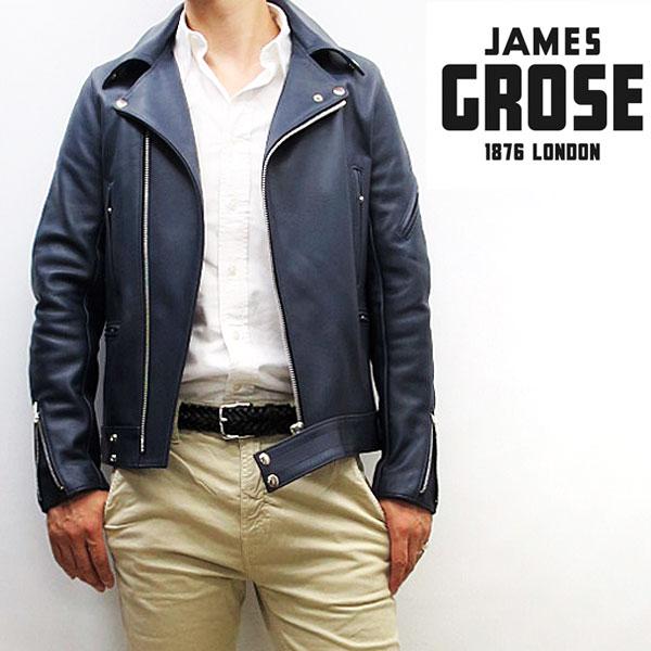 【正規販売店】JAMES GROSE / MANILA JACKET 【 レザーダブルライダースジャケット 】【ネイビー】 ジェームスグロース / マニラジャケット 牛革 メンズ ロンジャン 英国製