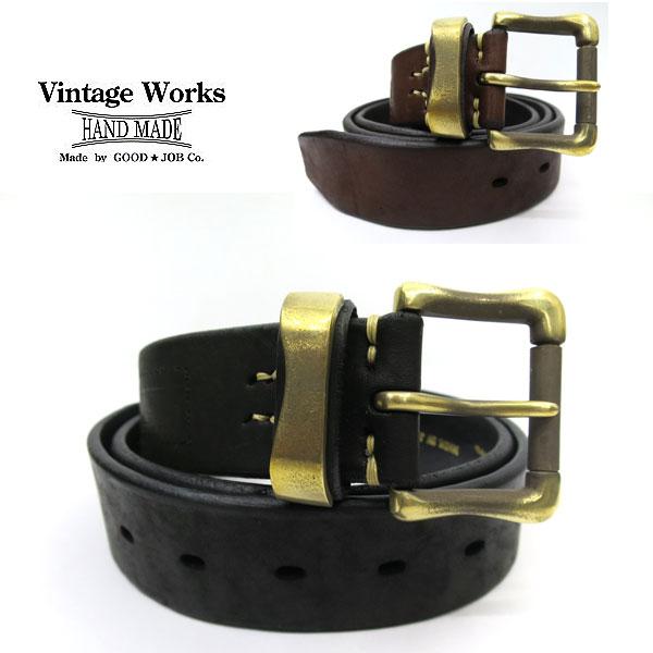【神戸 正規取扱店】Vintage Works ヴィンテージワークスDH5709 ハンドメイドレザーベルト 牛革幅 約40mm【 ブラック、D.ブラウン 】ビンテージワークス ベルト アメカジ 5ホール 国産