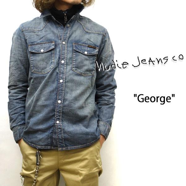2020SS NUDIE JEANS ( ヌーディージーンズ ) GEORGE (ジョージ) デニムシャツ[ BLUE CRUSH DENIM ] (B26) ブルークラッシュデニム 50161-3017 SKU#160630 nudie jeans ヌーディージーンズ ユニセックス デニムシャツ 綿100%