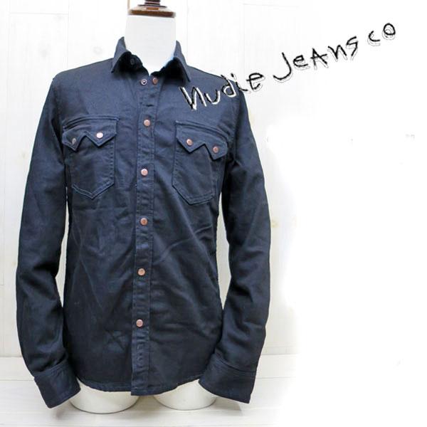 NUDIE JEANS ( ヌーディージーンズ ) グステンGUSTEN DENIM WESTERN SHRITS デニムシャツ ORG.BLACK ON BLUE (B26)  デニムジャケット nudie jeans gusten ブラックオンブルー ガステン 38161-3020