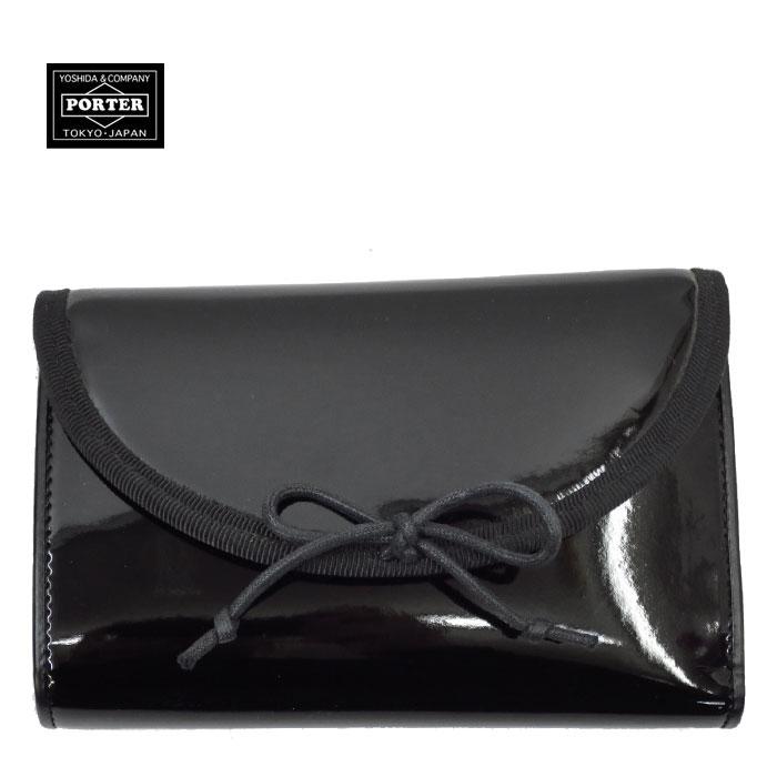 【廃盤レア商品/現物限り】エナメルのバレエシューズがモチーフのリボンがポイントのシリーズ♪ 吉田カバン PORTER GIRL PLANET ( ポーターガール プラネット ) 財布 【BLACK】 700-02908
