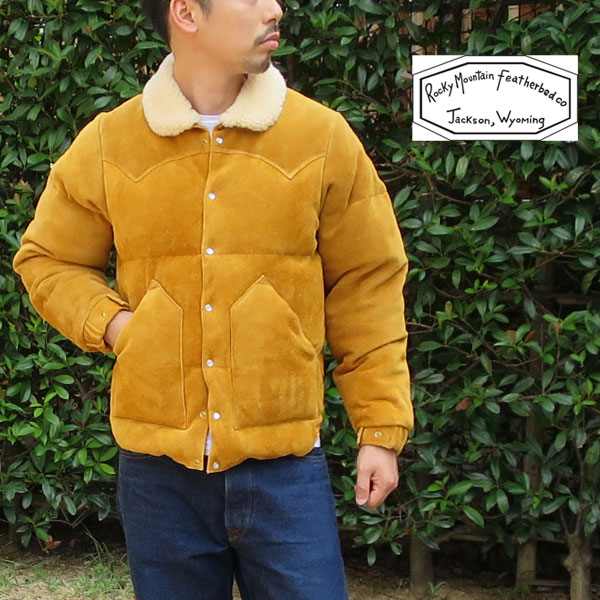 【★】2019FW☆ロッキーマウンテンフェザーベッド レザークリスティジャケット ボア付☆ Rocky Mountain Featherbed LEATHER CHRISTY JACKET【 YELLOW SUEDE / (マスタード)イエロースエード 】 メンズ ダウンジャケット MADE IN JAPAN 200-192-08