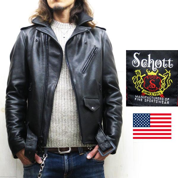 Schott 513UST オールブラック 【schott 神戸正規】 日本人に似合うタイト&ロング丈【日本代理店別注】 schott ワンスターライダース  Schott 513US Tall ONE STAR schott ダブルライダース schott ショット schott 革ジャン schott ワンスター