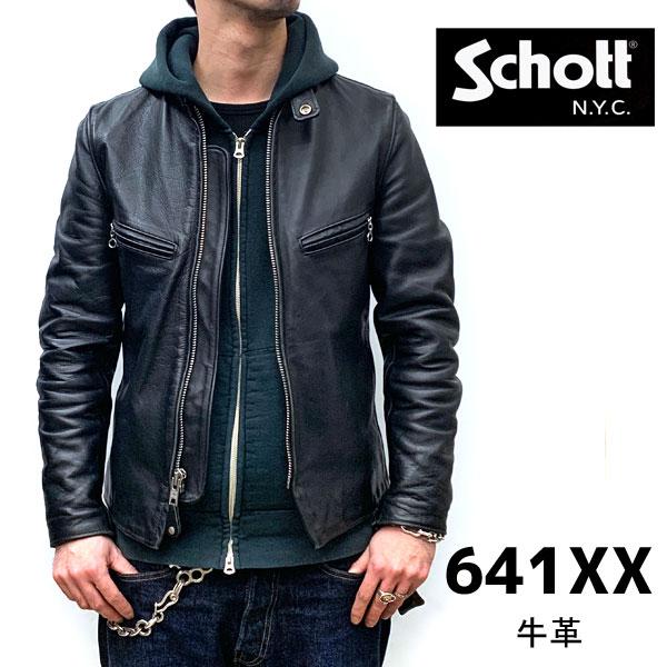 【schott 神戸正規】 【日本代理店別注モデル】Schott 641XX 60's641XX シングルライダース【BLACK】 schott ライダース schott ショット schott 革ジャン スタンドカラー 641XX 60'S STAND RIDERS アメリカ製