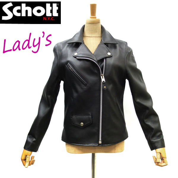 2018FW【 schott 神戸正規 】 Schott ( ショット )WOMEN's RIDERS / ウィメンズ ライダース【 ブラック 】schott SHEEPSKIN 羊革 ラムスキンschott レディース 革ジャンJacket 3271000