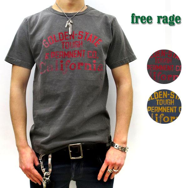 2019SS【メール便送料無料☆】【神戸 正規】 FREE RAGE Tシャツ ( フリーレイジ ) ピグメント染め 【 LOGO 】リサイクルコットンTee 【全2色】 FREERAGE Tシャツ 半袖 Tシャツ [ユニセックス] 219AC591-B VINTAGE SUMI, VINTAGE NAVY