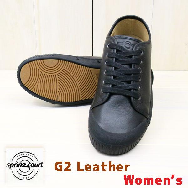 g2レザー ローカット 【レディース】 SPRING COURT : スプリングコート [ G2 Lo LEATHER ] ( WOMEN'S )【 ブラック/ブラック 】 スプリングコート スニーカー レディース スプリングコート レザー G2 Lo