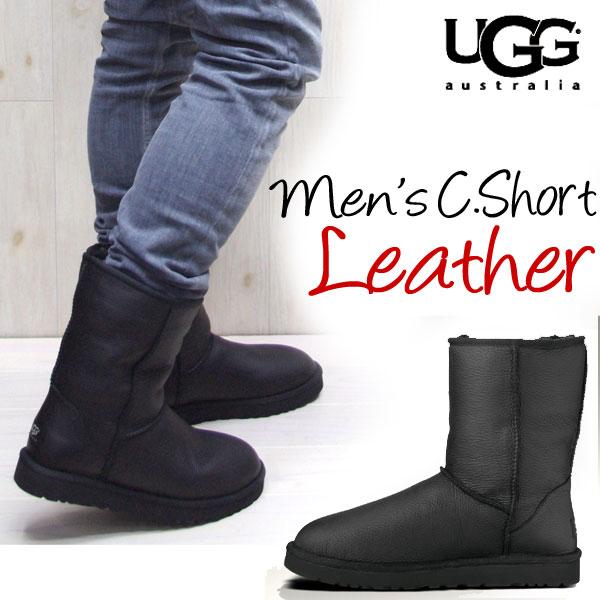 11 / 29 Back in stock * 2013 AW new ☆ UGG AUSTRALIA ( Ugg Australia ) ugg  men's classic short leather ( BLACK) ugg full grain leather ugg men's  classic ...