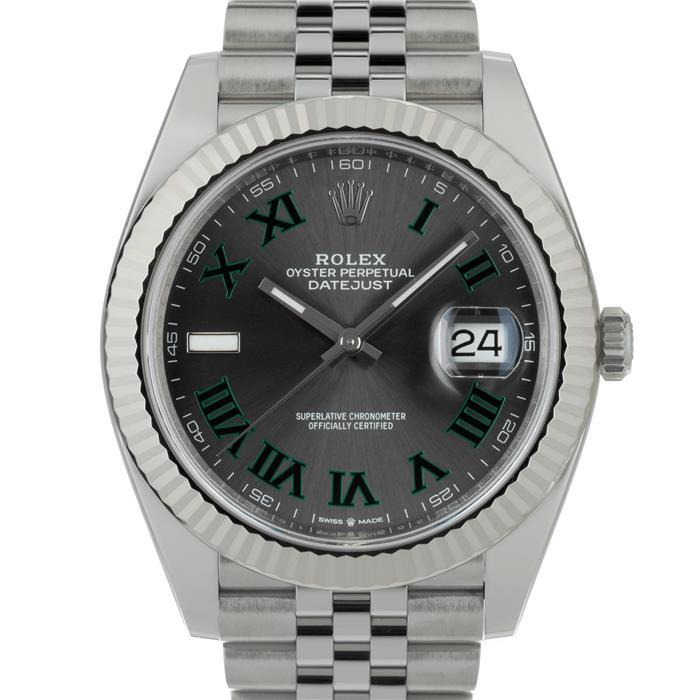 早割クーポン! ロレックス デイトジャスト41 126334 グレー/グリーン ローマ ROLEX メンズ 腕時計 送料無料, 驚きの安さ efc6cef9