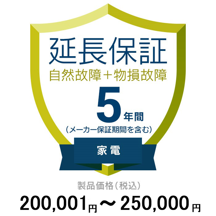 価格.com家電延長保証(物損付き)5年 家電 200,001~250,000円