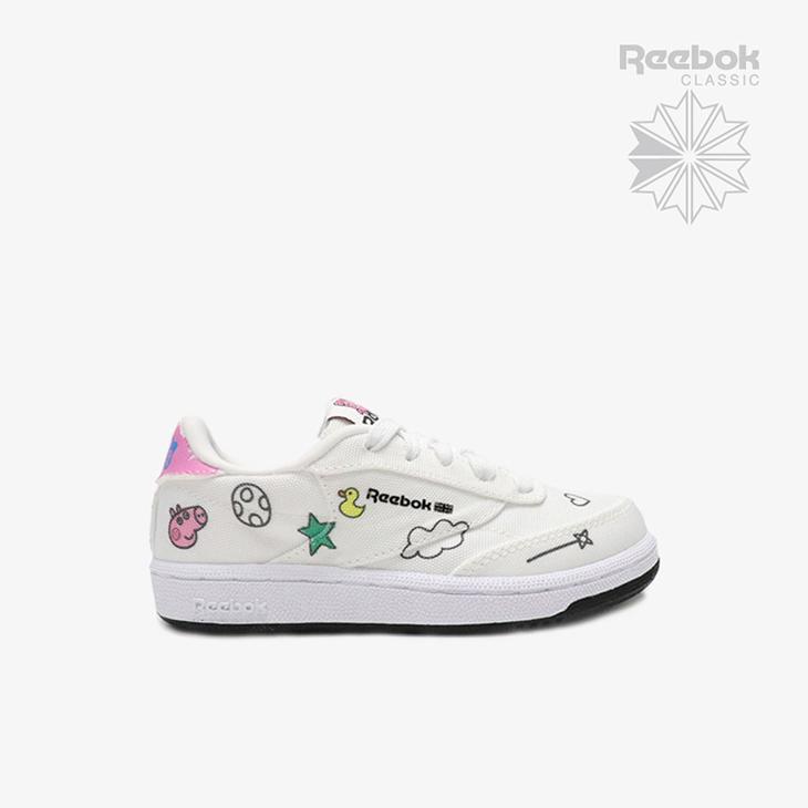 美品 リーボック《キッズ》クラブ C ペッパ ピッグ フットウェア ホワイトxコア ブラック REEBOK Pig 激安通販ショッピング Club Peppa Black Footwear # WhitexCore