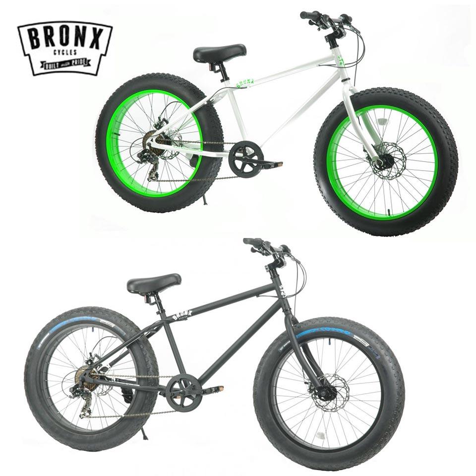 BLACK BRONX/ブロンクス x 7段変速 24 WHITE / 4.0 BLACK 24インチ MATTE / ファットバイク FATBIKE 24DD BRONX x LIME x 自転車