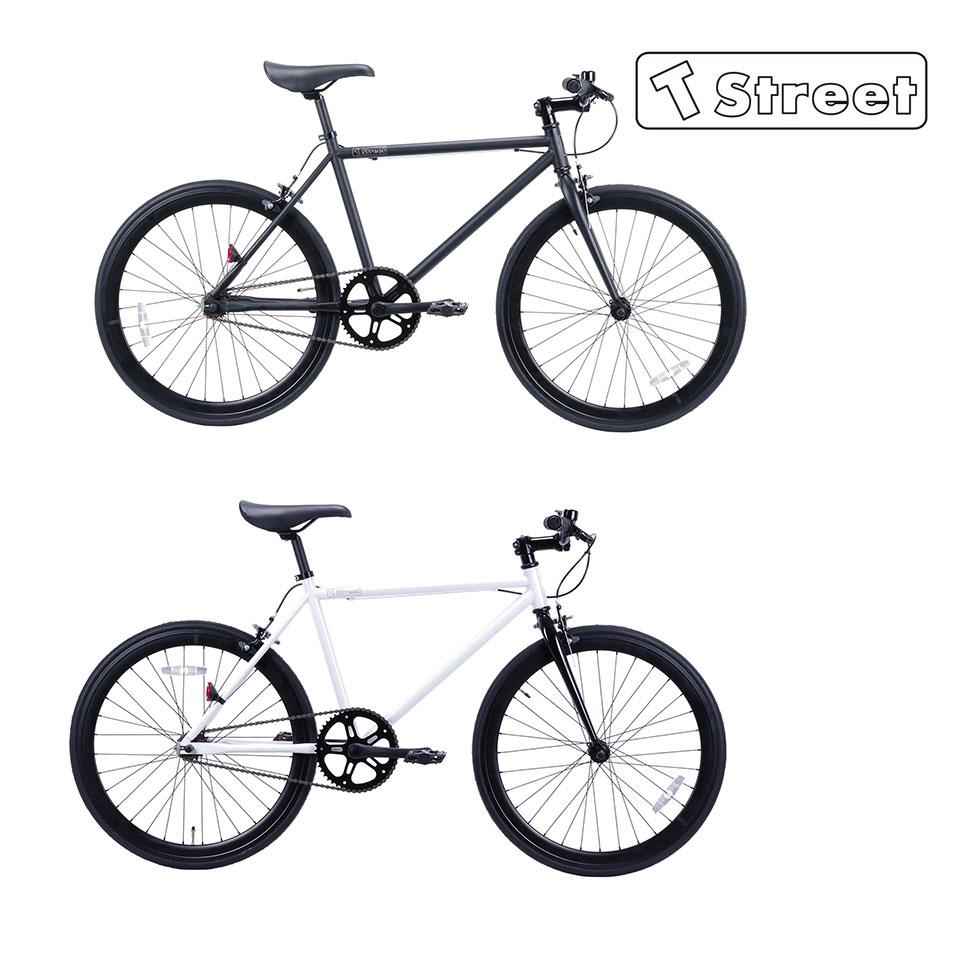 T-Street 24T ティーストリート ピストバイク 自転車 マットブラック / ホワイト