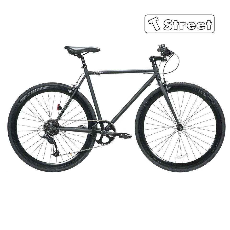 T-Street 700 ティーストリート 700C 8段ギアー ホリゾンタル 510mm PISTBIKE ピストバイク 自転車 マットブラック / グロスホワイト