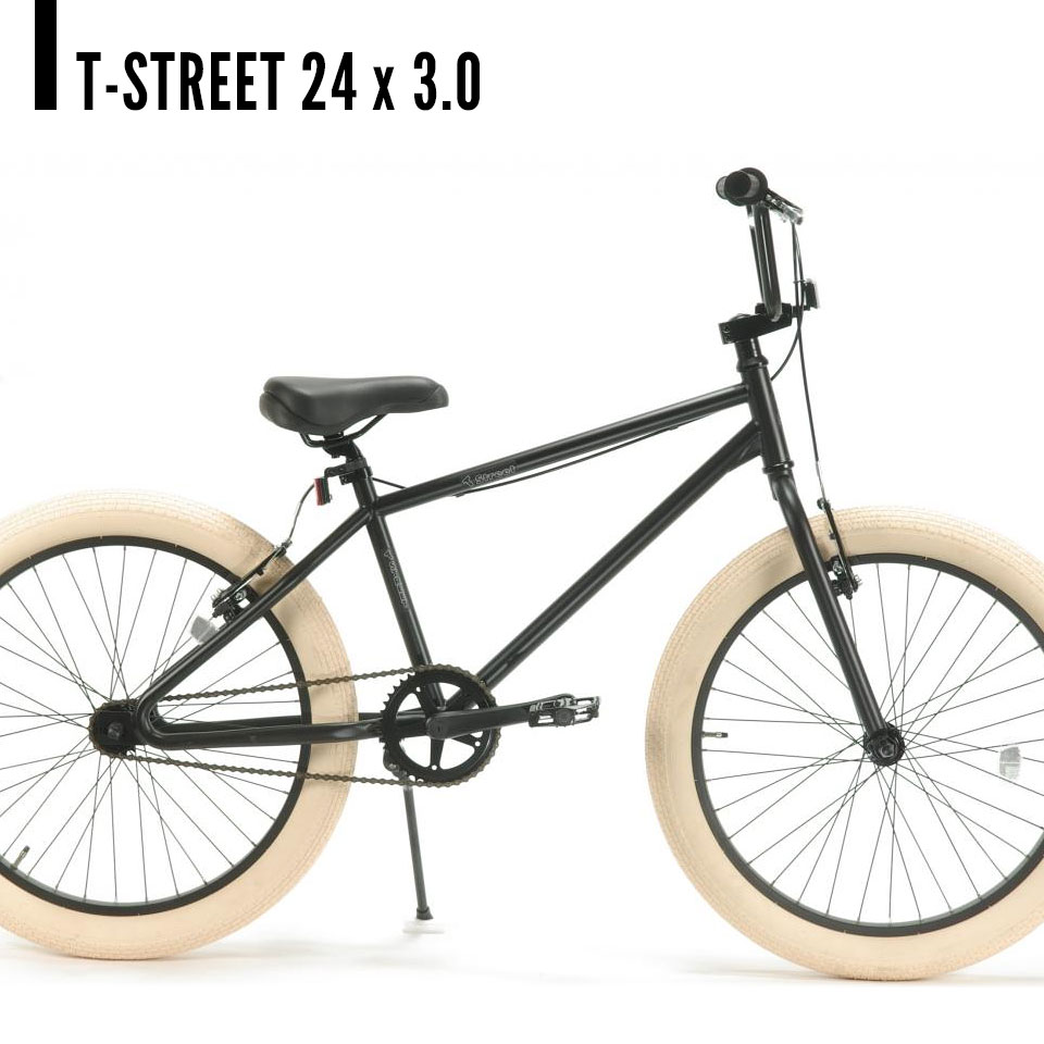 T-Street 24 x 3.0 ティーストリート BMX セミファットバイク 自転車 マットブラック / ホワイト