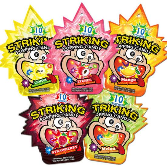 STRIKING POPPING 超歓迎された CANDY 使い勝手の良い ランダム10個 x10個セット ストライキングポッピングキャンディ 15g 12種類の味